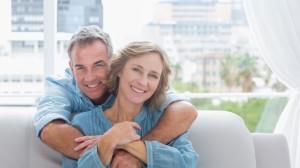 mature couple, smiling