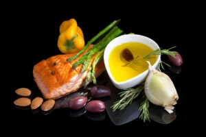 The Mediterranean diet, key elements of which are shown here, helps promote sound cardiovascular health and strong erectile function.