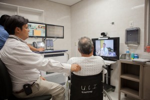 In this photo, a cardiac patient in the Mexican city of La Paz consults with a specialist in the larger city of Ciudad Obregon.