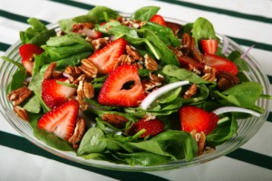 Spinach and strawberries, the primary ingredients in this salad, both have been found to have relatively high levels of pesticide residue.
