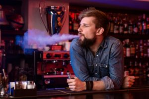 Man using an e cigarette.