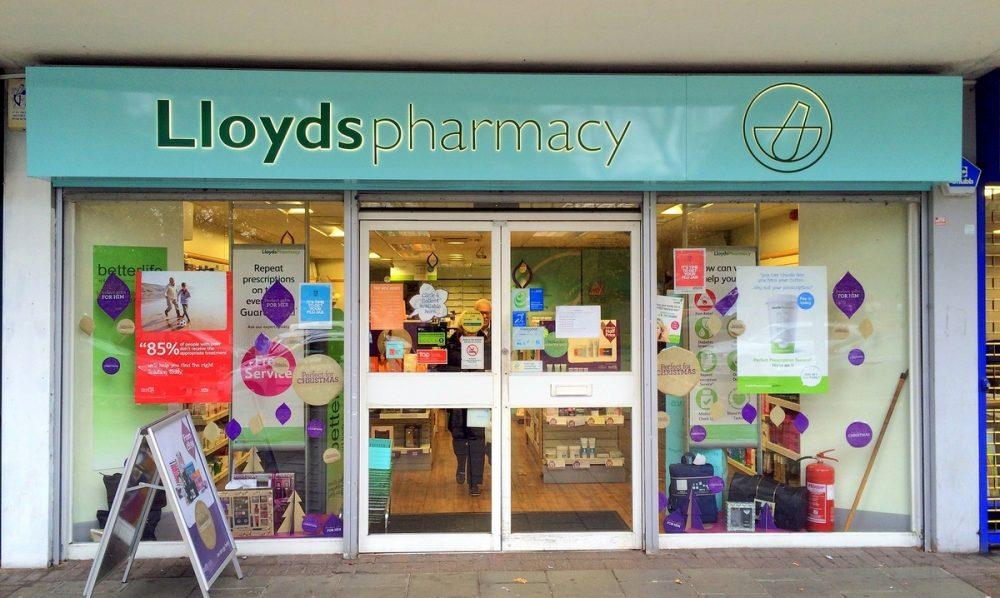 Pharmacy storefront.