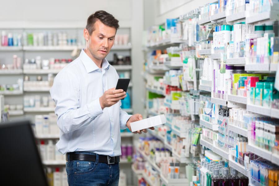 Pharmacist filling a prescription.