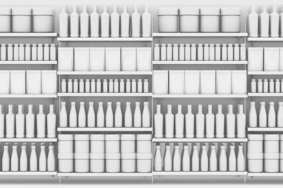 Shelves with empty containers.