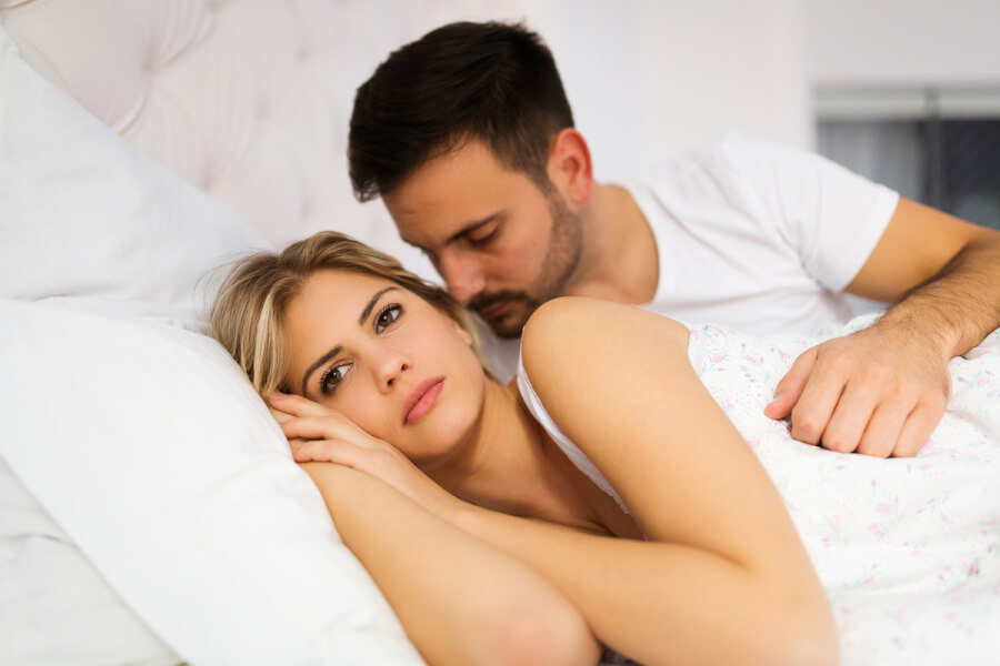 Couple lying together.