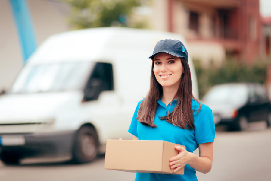 Woman delivering a package.