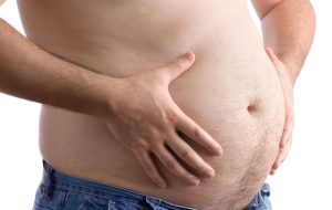Man with large belly.