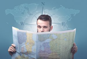 Man looking at a map.