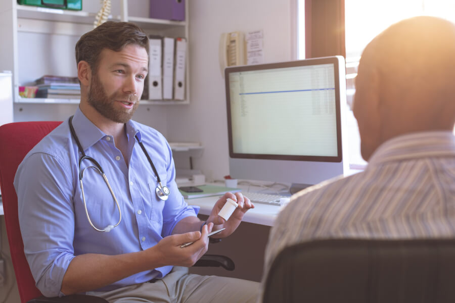 Medical doctor discussing ED medications with a patient.