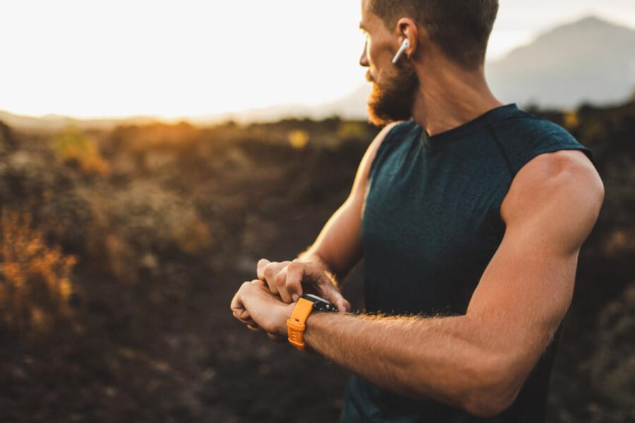 Man using his smartwatch.