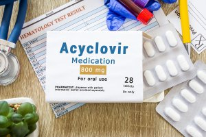 Packaged Acyclovir.