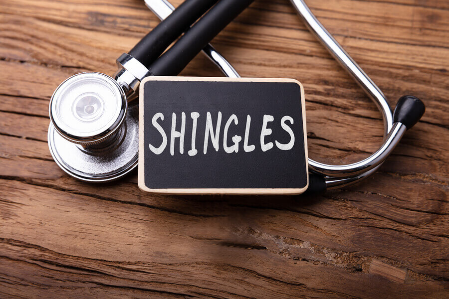 Shingles sign with stethoscope.