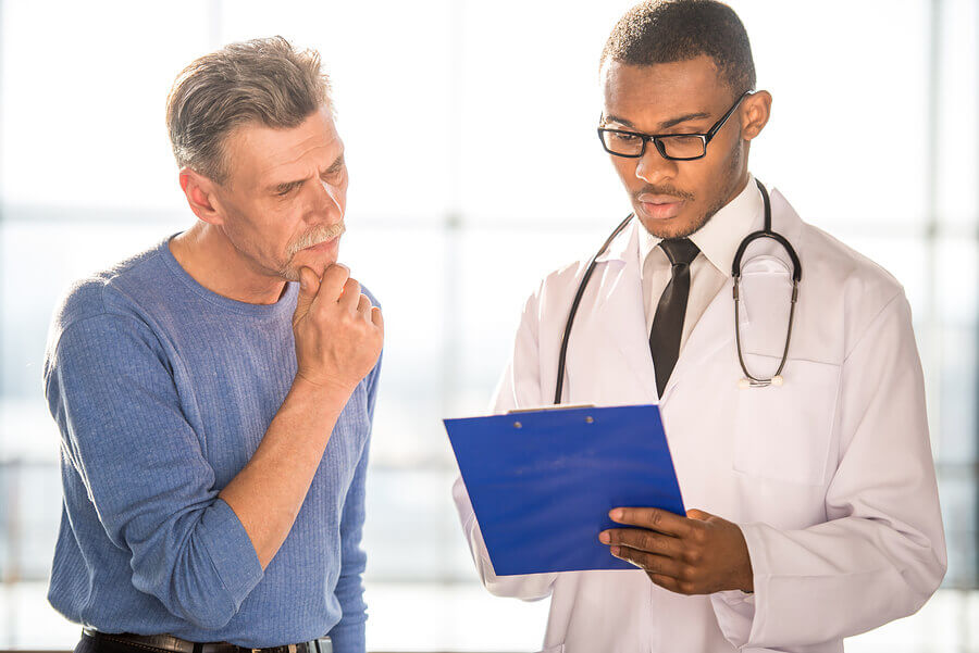 Male patient seeking help from a medical physician.