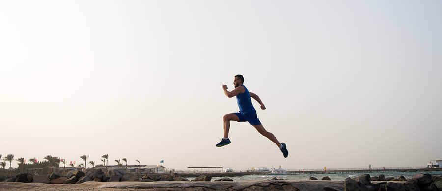 Man running outside.