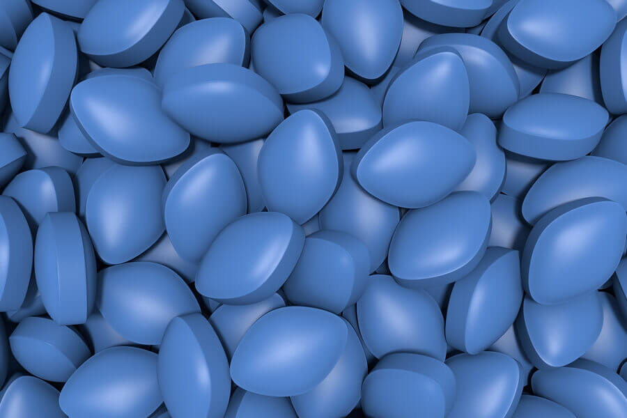 Blue Viagra pills