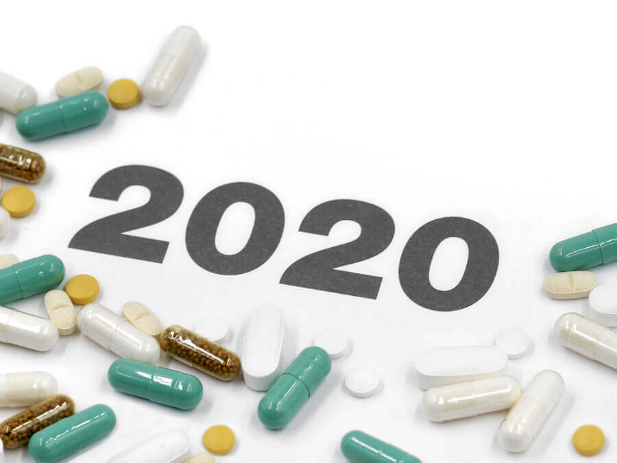 The numbers 2020 surrounded by ED drugs.