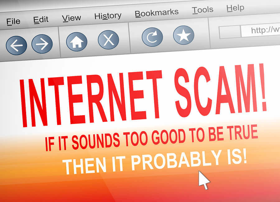 Internet scam displayed on a computer screen.