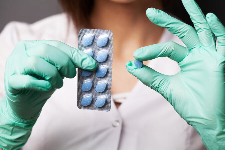 Pack of blue pills.