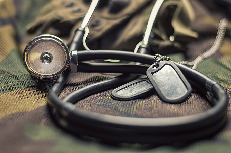 Stethoscope and military dog tags.