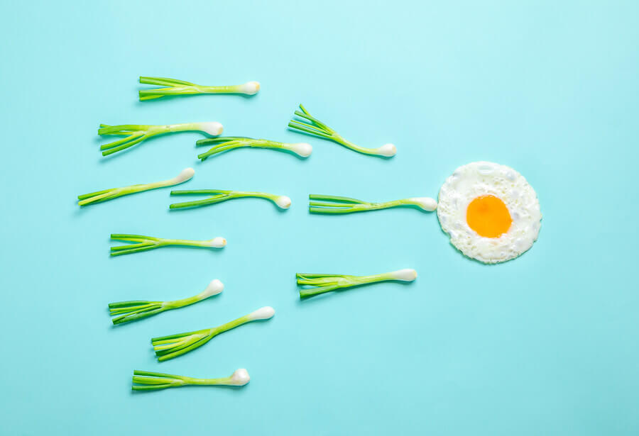 Green onions and a fried egg